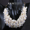K&M---Pure handmade numerous pearl with crystal gold necklace NK-07011, Free Shipping