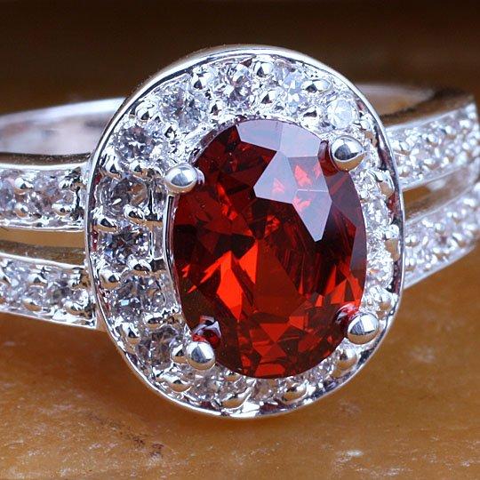 Cute Women Oval Base Red Garnet Silver Ring Yin J7947 Size 7 Classics Jewelry