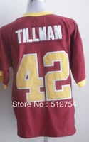 Free Shipping,#42 Pat Tillman red Jersey,College Football Jersey,embroidery logos,size 48-56,mix order