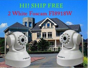 Wholesale  genuine 2 pcs White CCTV Security gsm alarm system IP Camera FI8918W Foscam CCTV WiFi Wireless Pan/Tilt IR