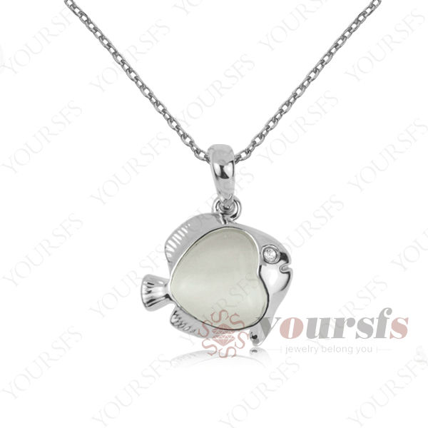 Free Shipping Unique Platinum Plated Cat's Eye Jewelry 18K GP White Opal Cute Goldfish Pendant Necklace Gift N174W1 Wholesale(China (Mainland))
