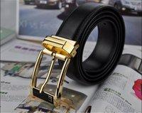 Free Drop Shipping +Style New  Mens Genuine Leather CowSkin Belt  Man Luxury Belts Golden Center Bar Buckle Best Gift Present