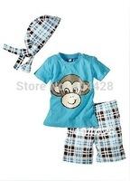136# free shipment summer style monkey shape blue Turban+short shirt+pants boy's suits wholesales 5sets/lot