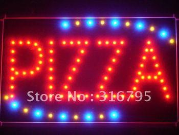 led008-r Pizza Shop OPEN LED Neon Business Light Sign