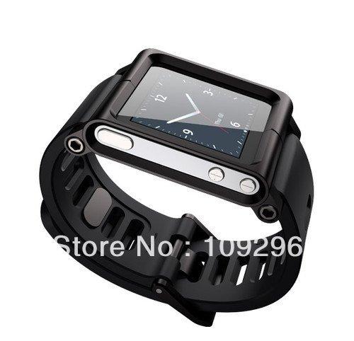 Black Aluminum Wrist Cover Case Luna Tik Watches Bands For iPod Nano 6(China (Mainland))