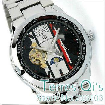 LAOGESHI Hi-quality Men Moonface Tourbillon Automatic Wrist Mechanical Watch   Christmas Gift