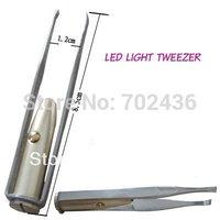slant tip LED tweezers Make Up tweezers Eyelash Eyebrow Hair Removal lighted Eyebrow Tweezers for lady (mini order $6)