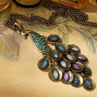 High Quality Antiqued Gem Peacock Necklaces Fashion Multi Sequin Long Necklace Sweater Chain Gifts 24pcs/lot Free Shipping