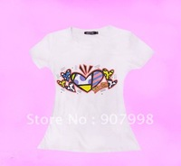 fashion elastic 100 % cotton t-shirt for ladies summer t-shirt free express shipping