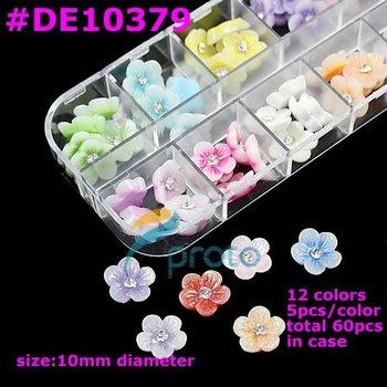 Freeshipping- 60Pcs 3D Nail Art Tips Acrylic Colors Flower Rhinestones Decorations[Wholesale] SKU:D0123XX