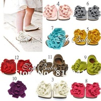 Hot Sell 10 Pairs 2012 New Baby Kids Girls Prewalker Flower  Pure color Shoes Free Shipping 0611023-BSO