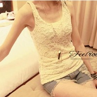 2012 new summer wild full lace hollow carved Camisole female base vest harness Korea  Free Shipping