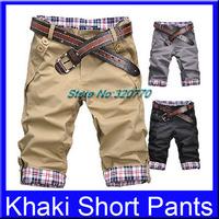 Wholesale 1Pcs Hot Summer M-XXL Size Casual Leisure Khaki Cargo Solid Slim Leisure Soft&Comfortable Man Men's Short Mid Pants