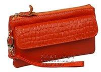 women genuine leather crocodile wallet, lady cowskin key purse, western cow leather wallet