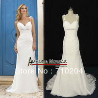 Hot Sale Sexy Chiffon 2013 Causal Beach Wedding Dresses Designer NS84