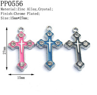27mm Crystal Stud Metal Cross Charms,Double Crosses Charms for DIY Religious Jewelry Making,Jesus Cross Free Shipping 100pcs/lot