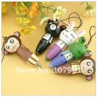 Free Shipping Wholesale Fashion Wooden Cute Animal Pens Mobile Phone Chain / Gift Key Chain 20pcs Pencils for School