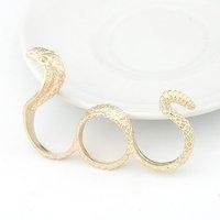 Wholesale 24pcs/lot Fashion Gothic Design Women's Three Finger Rings Zinc Alloy Snake Fashion Jewelry Free Ship