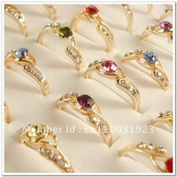 Mix Lots of 20 PCS Gold Plated Rhinestone Crystal Lady's Rngs A030