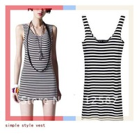 2013 new spring women's cotton Korean wild black and white striped sweater bottoming shirt dress~free shippiing#5162