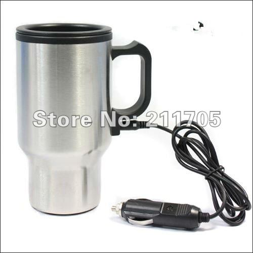 Heated 12V Car Mug Auto Travel Heating Cup-Hot Coffee Warm Tea-Stainless Steel-X(China (Mainland))