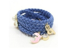 Wholesale Free ship  Velvet multilayer weaving lovely bracelet / more pendant bracelet accessories / popular girls love