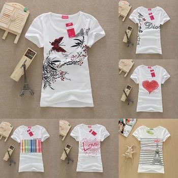 [SEKKES] 2014 Cotton T Shirt Women Tops Round Neck Butterfly Print  Women T-shirts F11