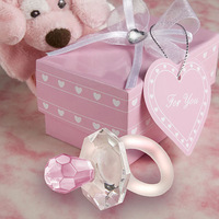 2012 New arrival Crystal Pink Pacifier Baby Shower  favors and gifts 12PCS/LOT Pink Color