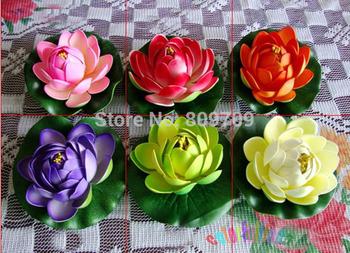 12pcs/Lot  10cm Artificial EVA Lotus Mini Water lily Bud Flower Head ,Pool  Fish Tank Home Decoration