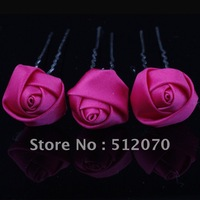 New Arrival 30pcs/set Fuchsia Rose silk flower hair clip,silk flowers for hair wholesale free shipping