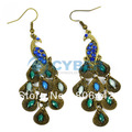 Free Shipping New Fashion Vintage Style Retro Blue Prancing Clips Peacock Earrings