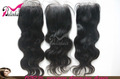Free Shipping High Quality 1B 100% Peruvian Virgin Lace Closure Bleached Knots Body Wave(4*4)