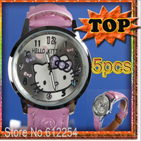 pink 5pcs hellokitty watches watch 2013 New Hot Quartz Watches Cartoon Hello Kitty Alloy Watchcase PU Adjustable Band C0008*5
