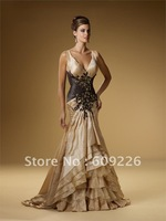 Hot Sell ! Mermaid V-neck Taffeta Fabulous Mother of the Bride Dresses,Evening Dress Fashion 2012 with Embroidery on Bodice