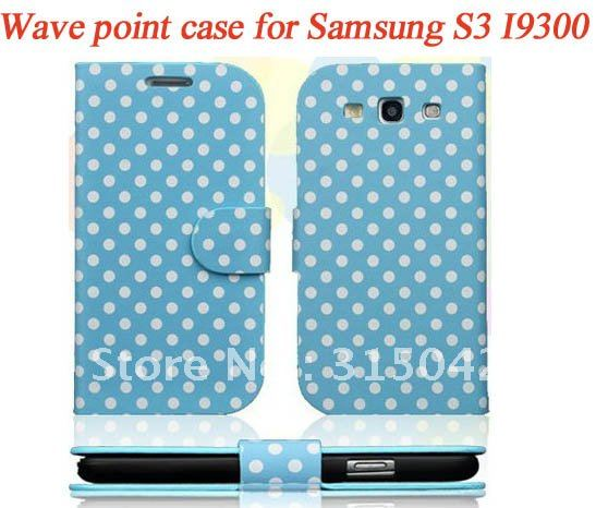10pcs/lot wave point pu leather caer for Samsung Galaxy S3 I9300, For samsung galaxy SIII i9300 spot style cover ,free shipping(China (Mainland))