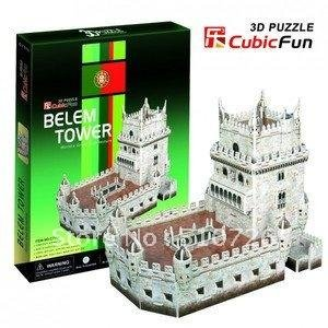 Free Shipping!CubicFun 3D Diy paper model puzzle Belem Tower C711h,Home Decoration for intelligence development,birthday presen