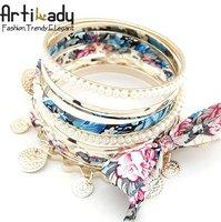 Artilady 5pcs set Hawaii sea beach jewelry bangle with pearl fashion gold bangle female bangle