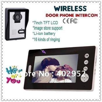 "Wireless 7inch Photo-Memory video intercom door phone system ( Wireless+7"" LCD+Take photos+ Unlock+night vision)"