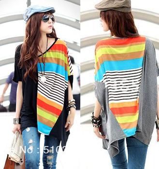 New Arrive 2015 summer Women T-shirts fashion patchwork loose cotton plus size XXXL print striped brand women clothing 3063