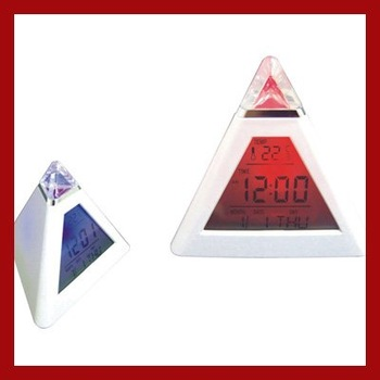 Alarm Clock  LED 7 color changing Triangle Pyramid music