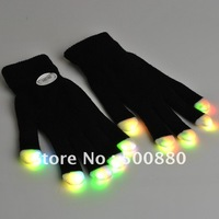 Wholesale - One  pcs   LED Gloves Rave light show fingers Colorful Lighting, flashing / light-up glove