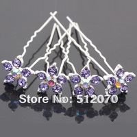 20pcs/lot Lilac Crystal Wedding Bridal Flower Hair Pins mixed Colors! Free Shipping