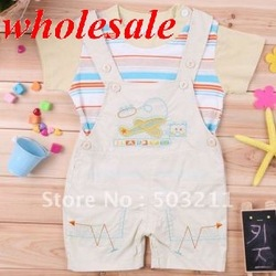 Cute boys summer clothes,kid suspenders trousers baby overall set,children 2 pcs(t-shirt+bib pant),free shipping.3 sets/lot(China (Mainland))