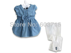 new free shipping 2-piece clothing set Baby Girls out fit wear +Baby Girl pants Girls Baby Outfits Sets children cloth set(China (Mainland))