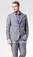 Wholesale Free shipping high quality 160's wool Custom made Men Business grey suit (jacket+pants)