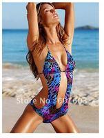 2012 Brand VS  XS S M Swimwear Sexy Beachwear Top tied at neck Swimsuits Tiger pirnt monokini Fulll lined Bikini Free Shipping