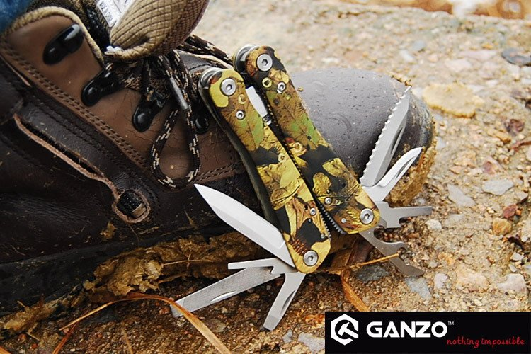 Free Shipping Ganzo 2016 Multi Tool Pliers Toolkit Outdoor Camping Fishing Folding Hunting Plier with Knife(China (Mainland))
