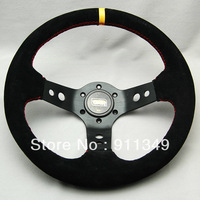 OMP 13 inches Nubuck leather Steering Wheel, Drifting steering wheel for Modified Car-13012yellow