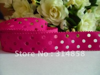 "Free shipping 7/8"" plain grosgrain ribbon with holes,ribbon for hair bow, ribbon bow color no. #187 50yards fabric tape"