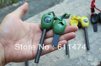 Outdoor Survival Magnesium Flint Stone Fire Starter Lighter Compass Whistle-Free Shipping
